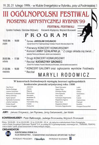 1999 plakat